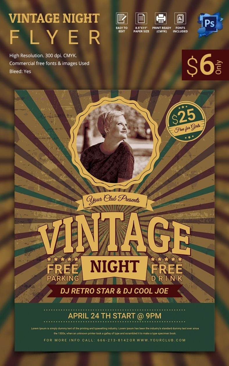 Templates for Flyers Free 15 Stylish Vintage Flyer Templates Psd