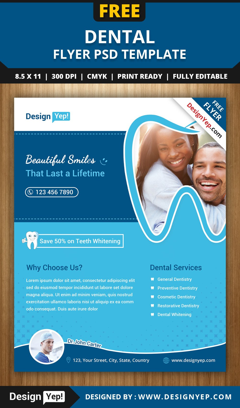 Templates for Flyers Free Free Dental Flyer Psd Template Designyep
