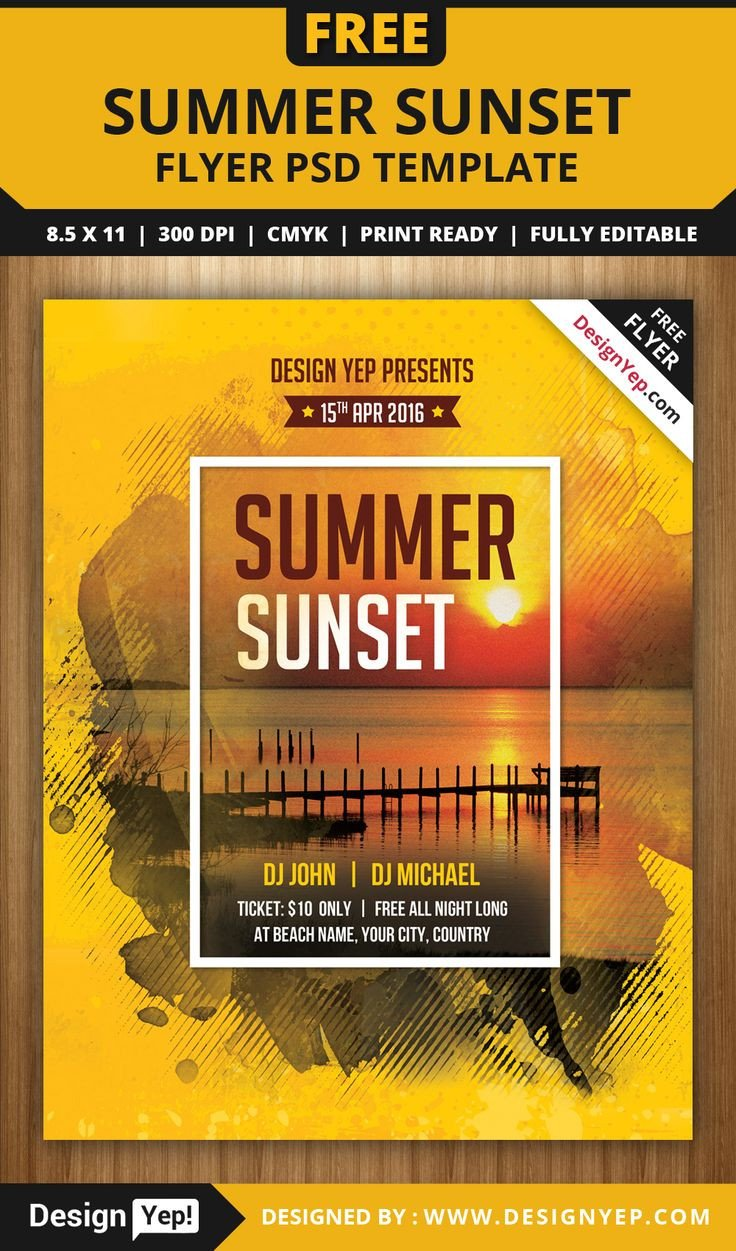 Templates for Flyers Free Free Summer Sunset Beach Party Flyer Psd Template
