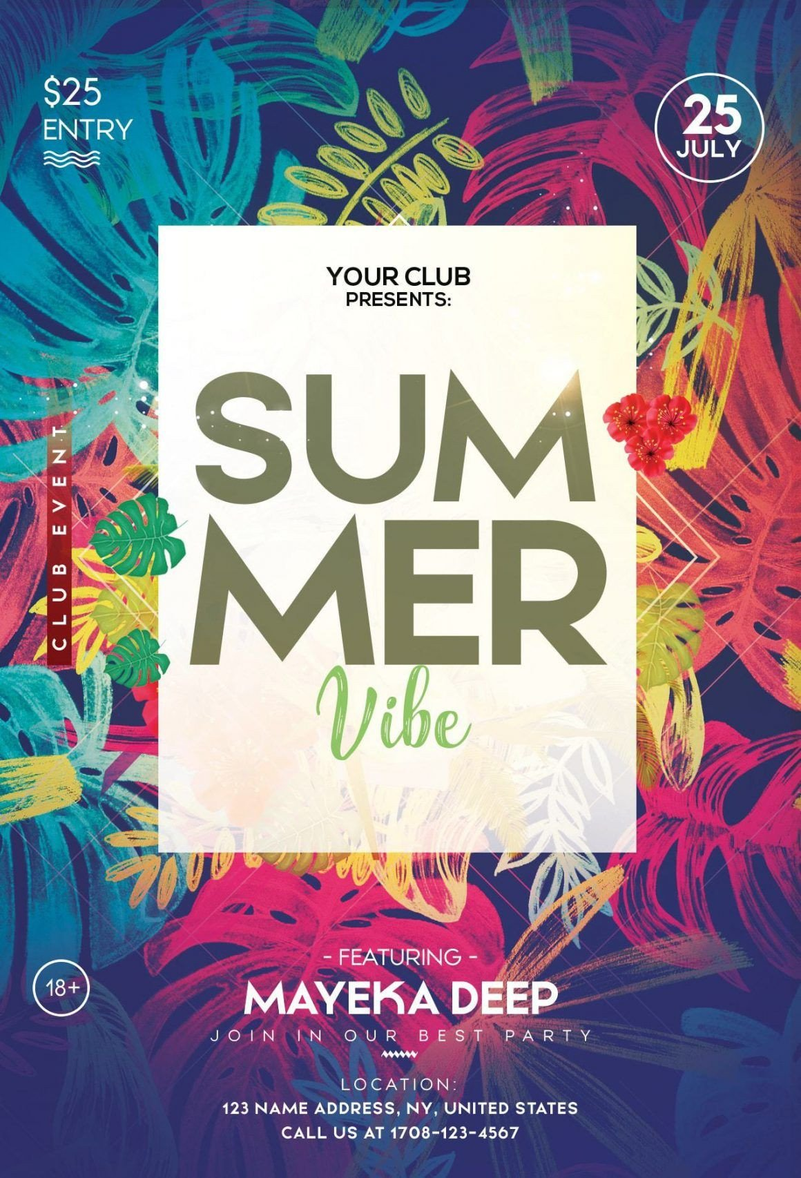 Templates for Flyers Free Tropical Summer – Free Psd Flyer Template