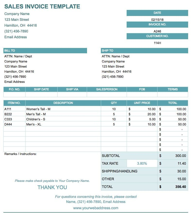 Templates for Google Sheets Free Google Docs Invoice Templates