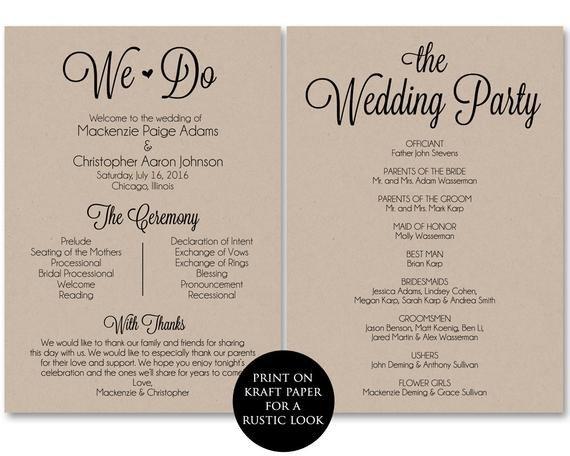 Templates for Wedding Programs Ceremony Program Template Wedding Program Printable We Do
