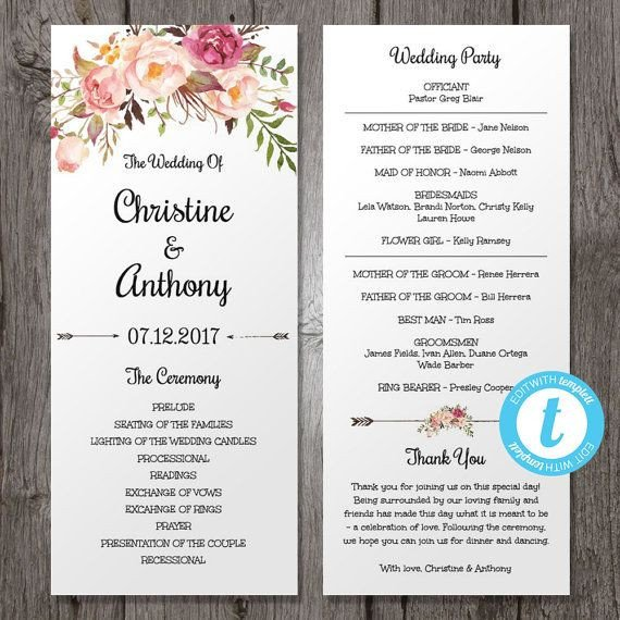Templates for Wedding Programs Pink Floral Wedding Program Instant Download Bohemian