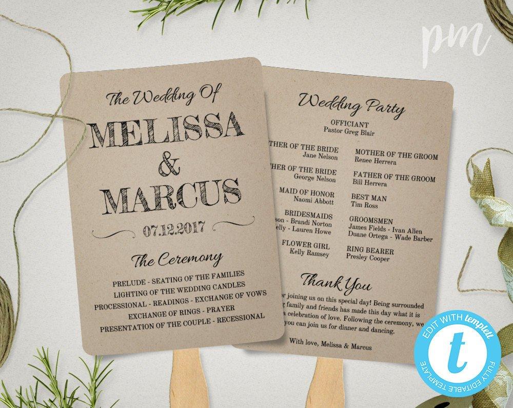 Templates for Wedding Programs Rustic Wedding Program Fan Template Fan Wedding Program