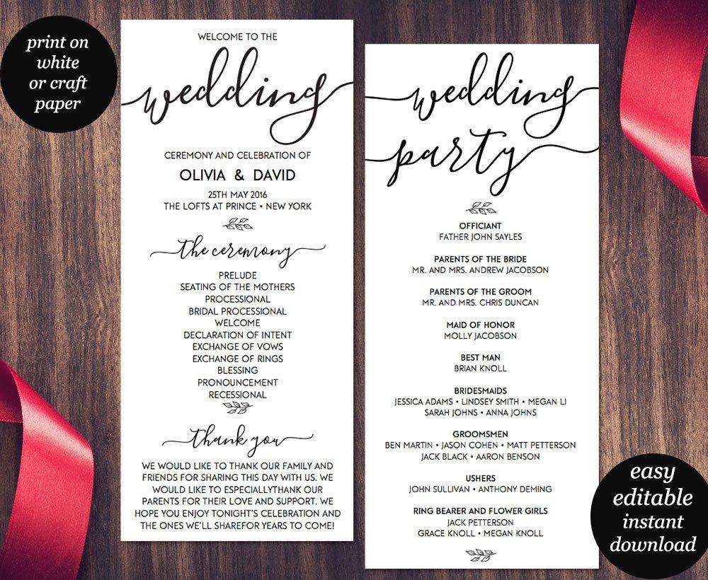 Templates for Wedding Programs Wedding Program Template Printable Wedding Program Wedding