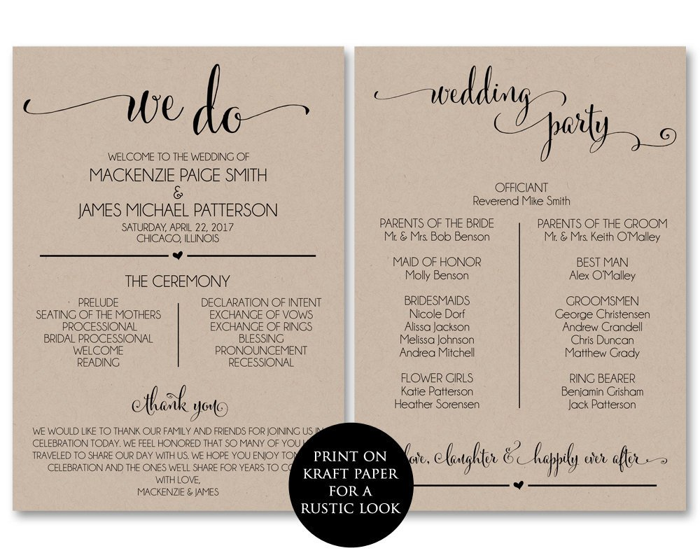 Templates for Wedding Programs Wedding Program Template Wedding Program Printable We Do