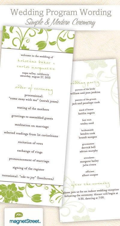 Templates for Wedding Programs Wedding Program Wording & Templateswedding Program Wording