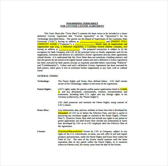 Term Sheet Template Word 14 Term Sheet Template Free Word Pdf Documents