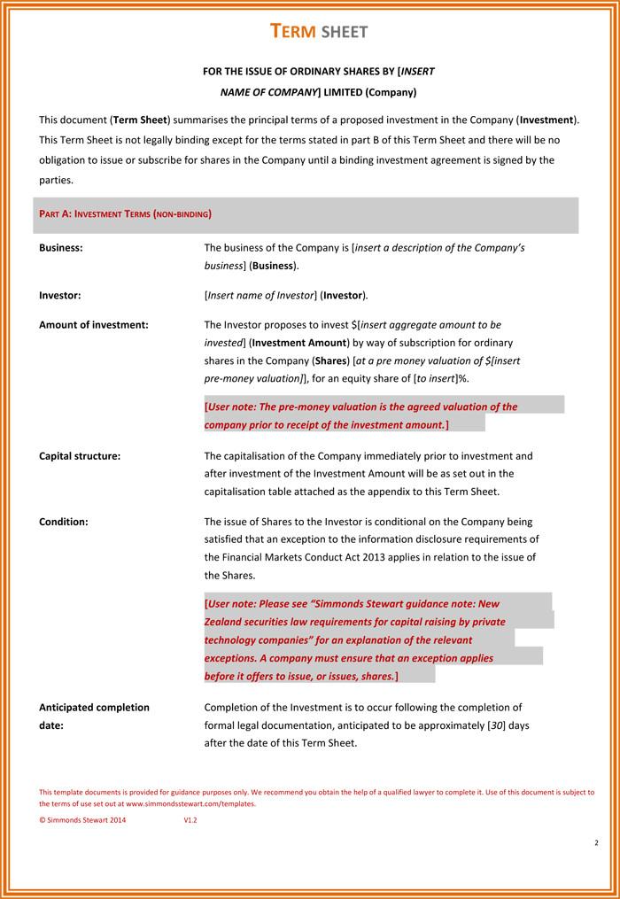 Term Sheet Template Word Choose From 9 Term Sheet Templates