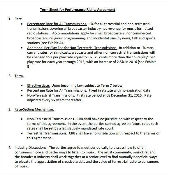 Term Sheet Template Word Sample Term Sheet 6 Example format