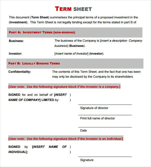 Term Sheet Template Word Term Sheet Template 14 Download Free Documents In Pdf