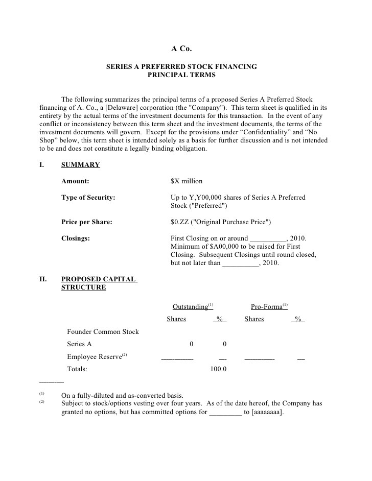 Term Sheet Template Word the Holy Grail Of Entrepreneurship the Term Sheet Part 1