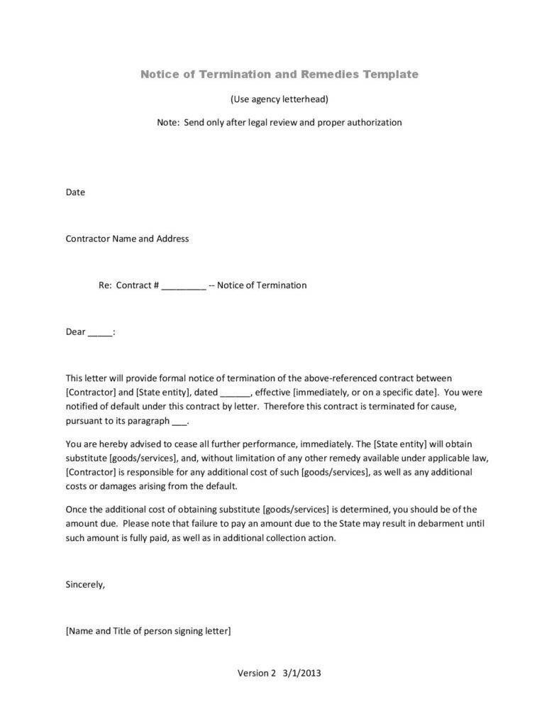 Termination Of Contract Letter 10 Business Termination Letters Free Word Pdf Excel