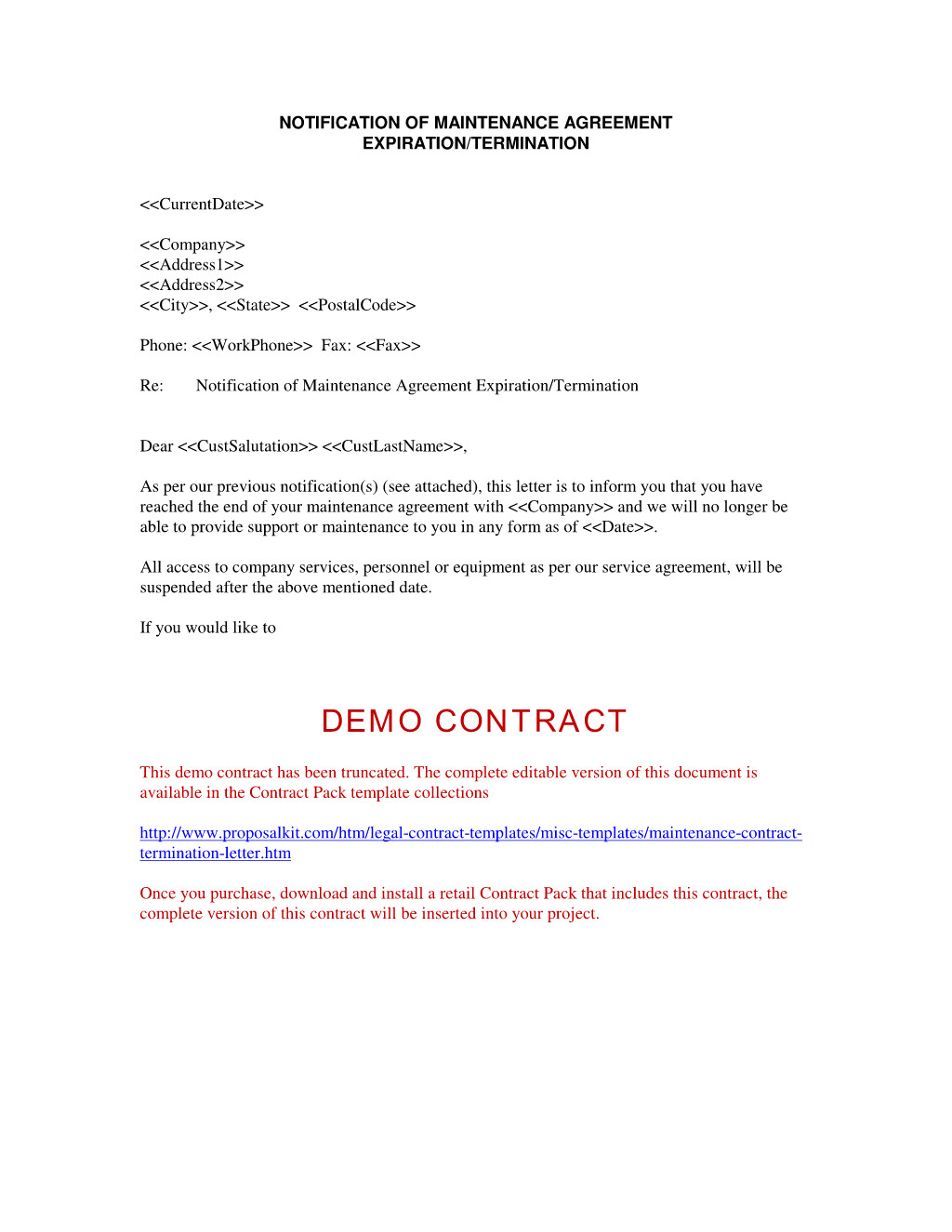 Termination Of Contract Letter Contract Termination Letter Free Printable Documents