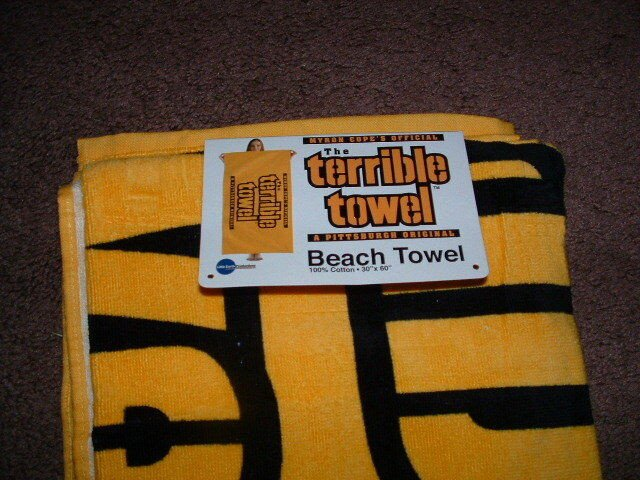 "Terrible towel Pictures Myron Copes Official Gold Terrible towel Beach towel 30"" X"