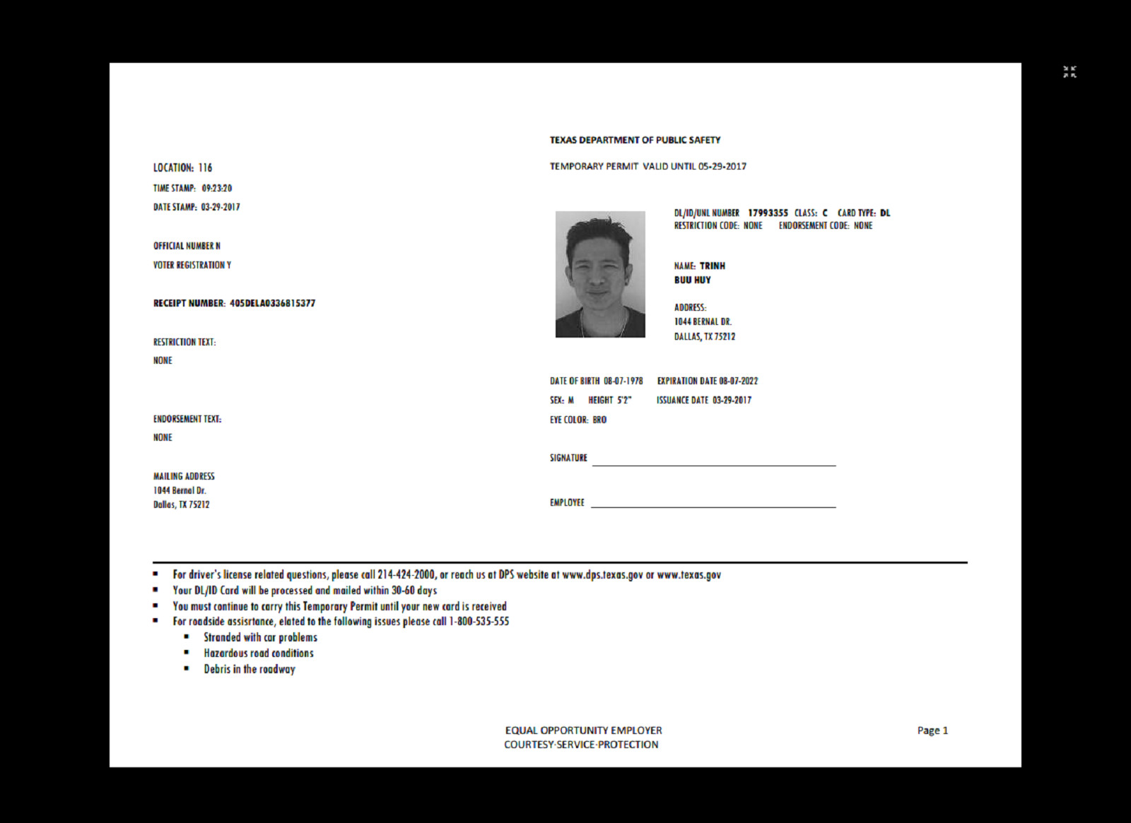 Texas Temporary Paper Id Fake Driver S Permit Texas Temp In 2019