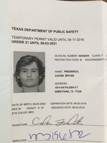 Texas Temporary Paper Id Fake the Fredericks Caden is 16