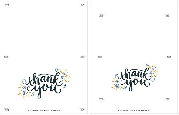 Thank You Postcard Template Freebie Printable Thank You Card