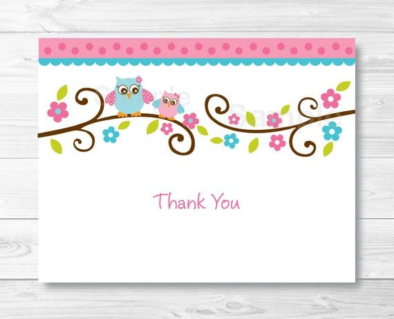 Thank You Postcard Template Pink Owl Thank You Card Folded Card Template Owl Baby