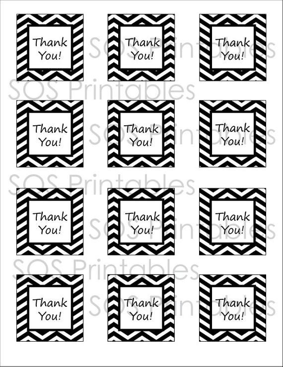 Thank You Printable Tags Black and White Chevron Thank You Tags Printable Pdf