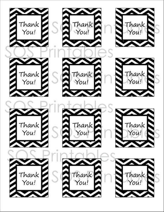 Thank You Printable Tags Black and White Chevron Thank You Tags Printable Pdf