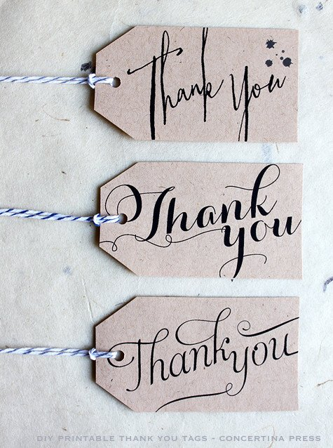 Thank You Printable Tags Concertina Press Stationery and Invitations Diy