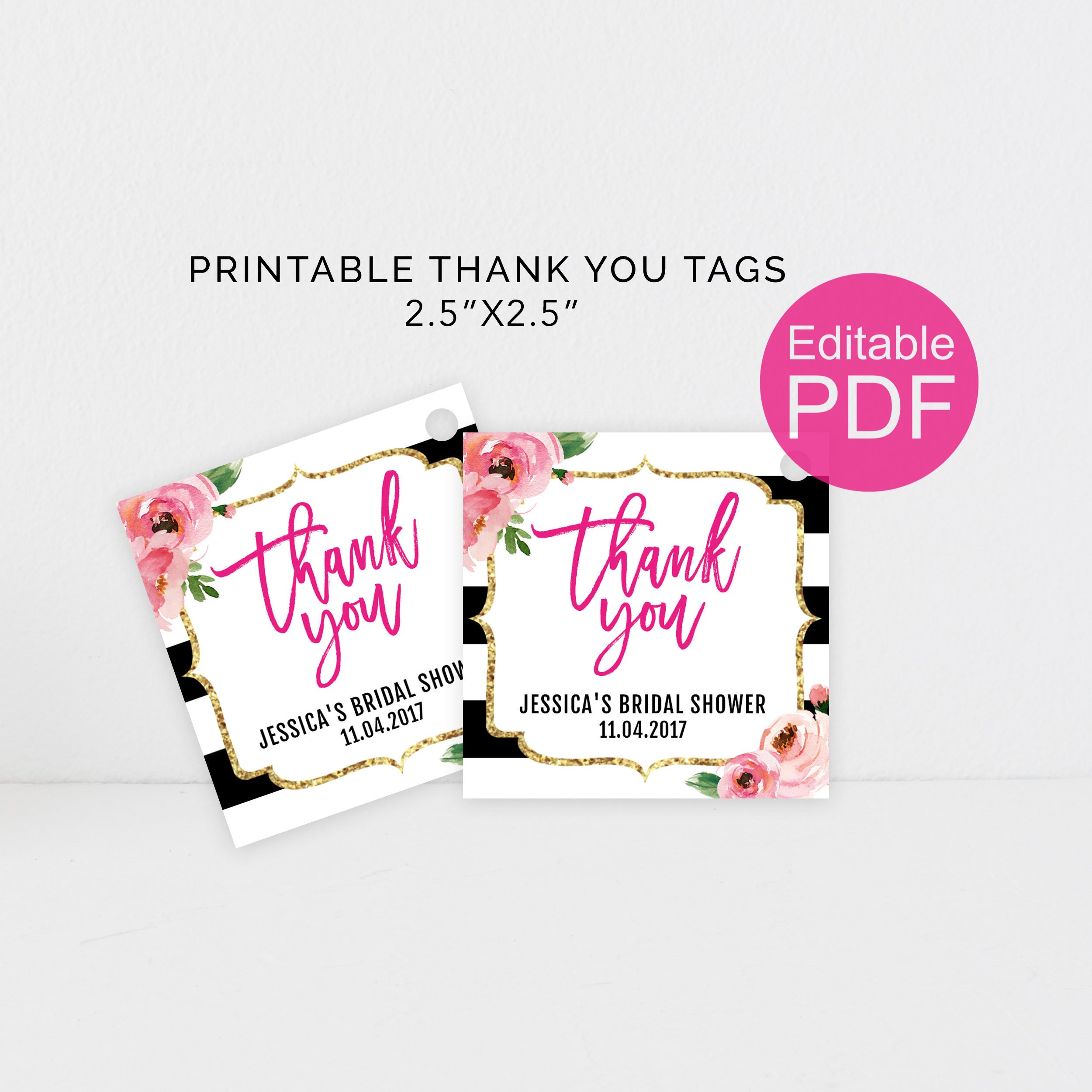 Thank You Printable Tags Kate Thank You Tags Template Diy Floral Thank You Tag Kate