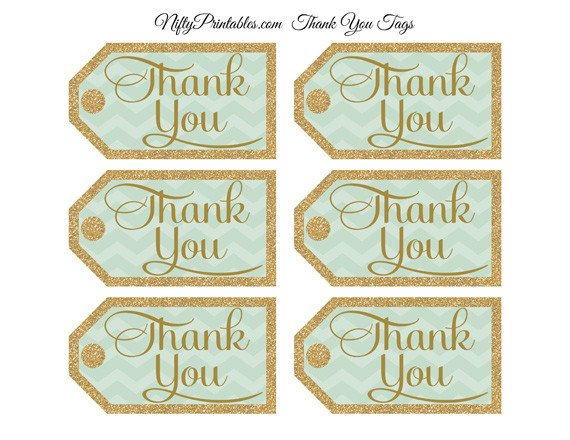 Thank You Printable Tags Mint Green Thank You Tags Chevron Rectangle Nifty
