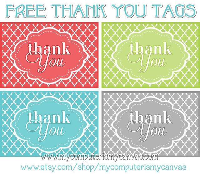Thank You Printable Tags My Puter is My Canvas Freebie Printable Thank You Tags
