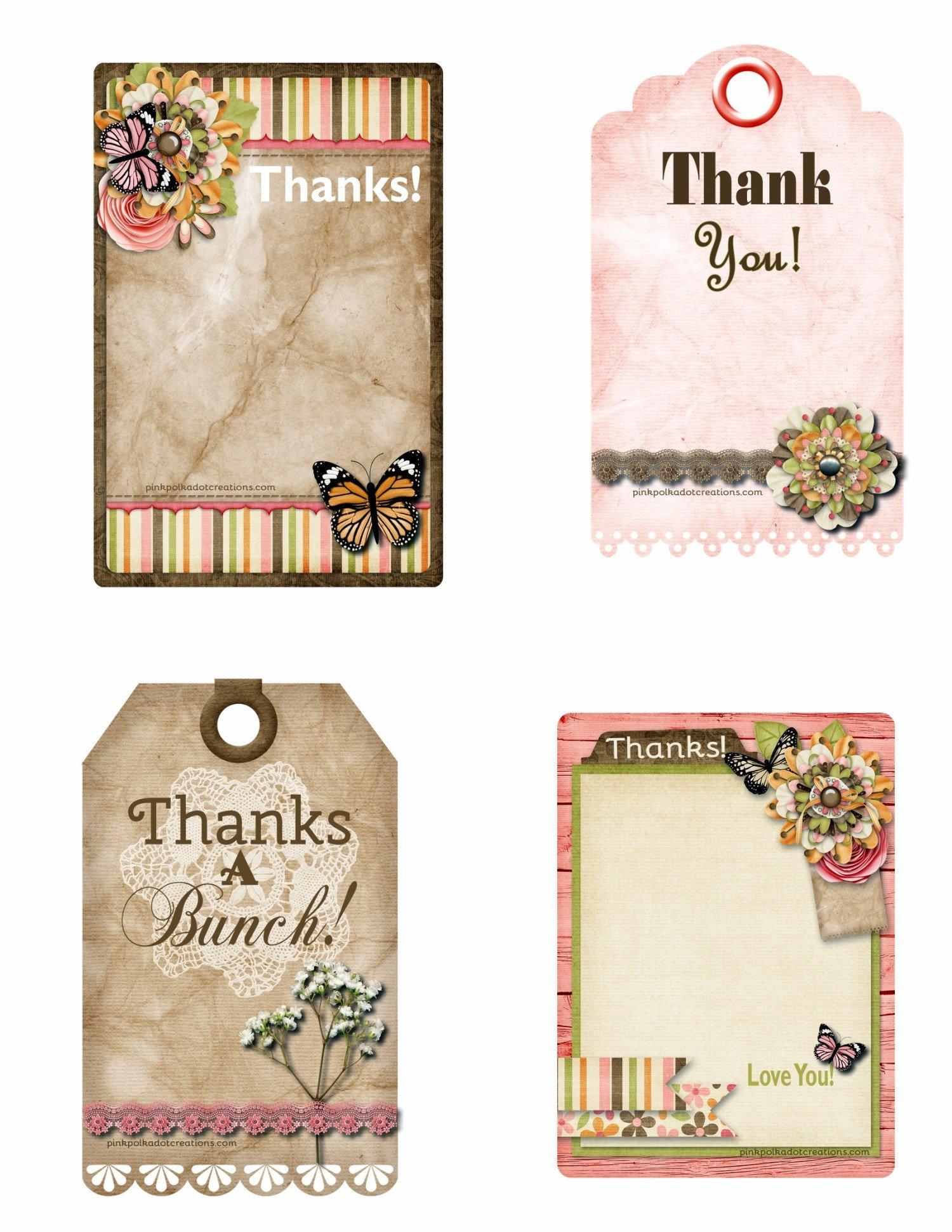 Thank You Printable Tags Printable Thank You Tags Pink Polka Dot Creations