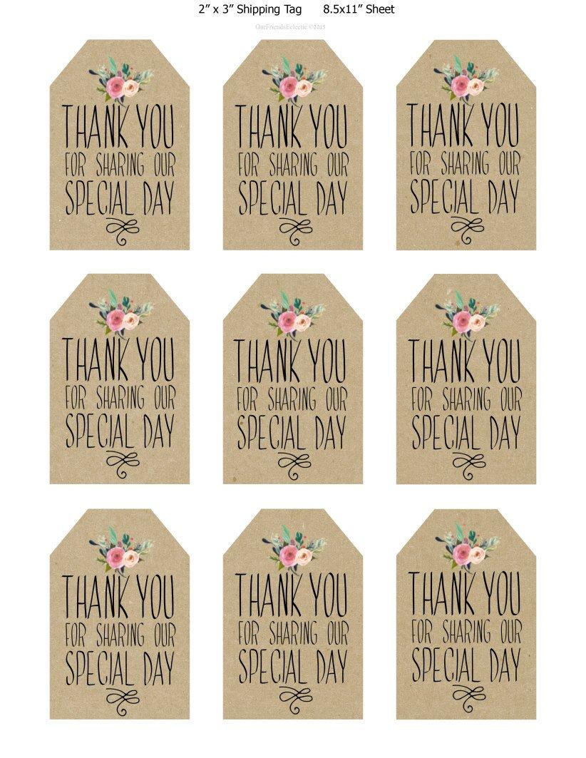 Thank You Printable Tags Printable Wedding Favor Tags Thank You Printable Tags