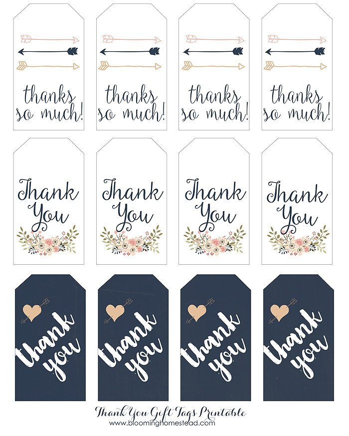 Thank You Printable Tags Thank You Gift Tags Blooming Homestead