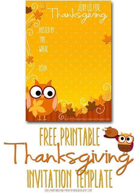 Thanksgiving Invitation Templates Free Word Free Printable Party Invitations Thanksgiving Invite Template