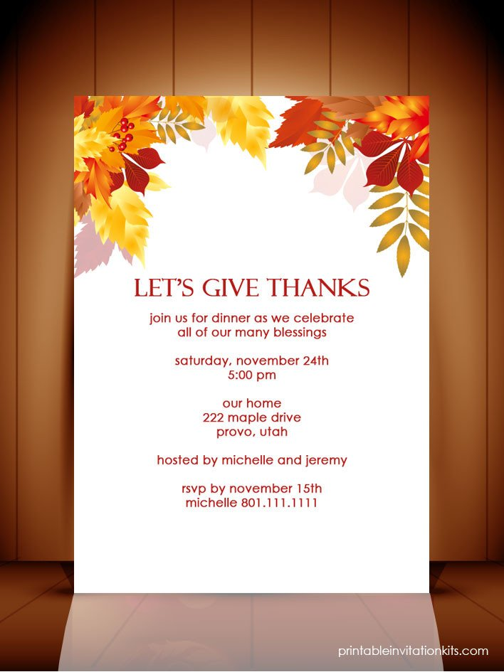 Thanksgiving Invitation Templates Free Word Thanksgiving Dinner Autumn Invitation Template ← Wedding