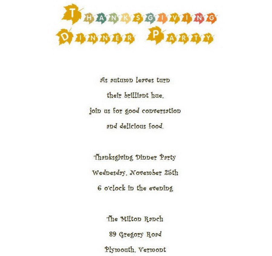 Thanksgiving Invitation Templates Free Word Thanksgiving Dinner Invitation 4 Wording