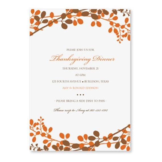 Thanksgiving Invitation Templates Free Word Thanksgiving Dinner Invitation Template by Loveandpartypaper