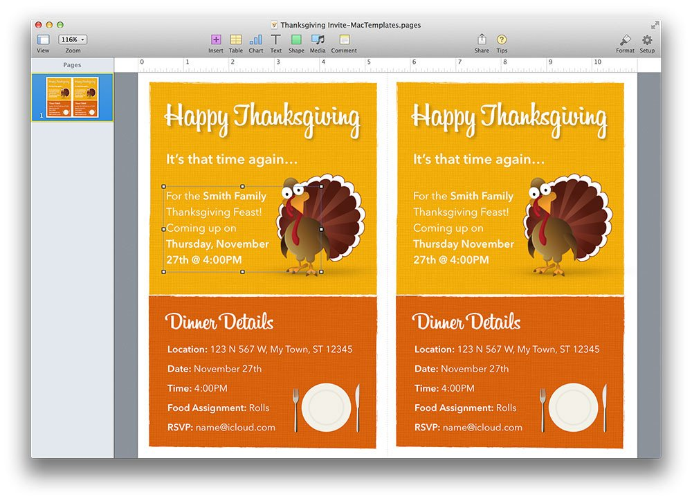 Thanksgiving Invitation Templates Free Word Thanksgiving Invitation Template for Pages