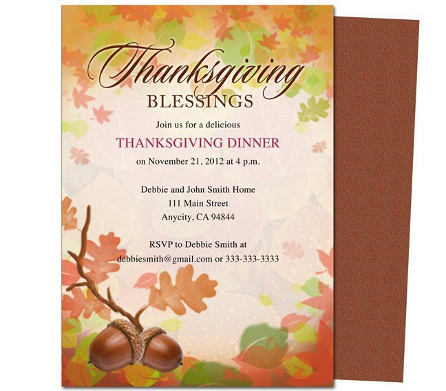 Thanksgiving Invitation Templates Free Word Thanksgiving Invitation Templates