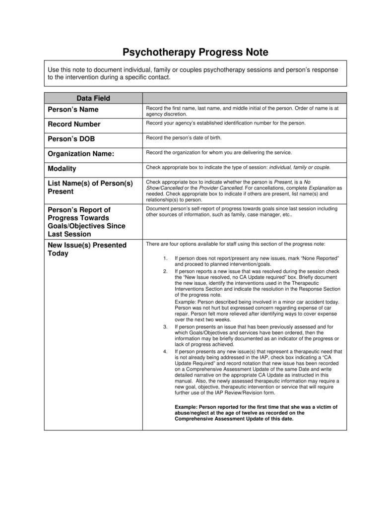 Therapist Progress Note Template 8 Psychotherapy Note Templates for Good Record Keeping