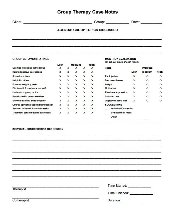Therapist Progress Notes Template Sample therapy Note Template 5 Free Documents Download