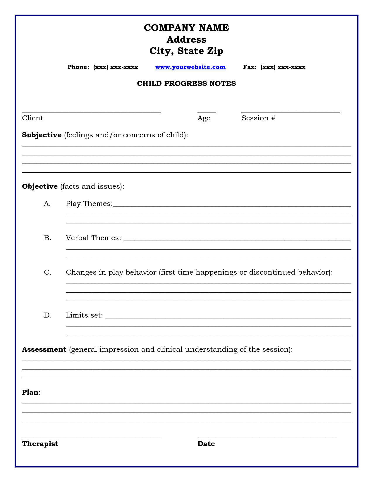 Therapist Progress Notes Template therapy Progress Note Template