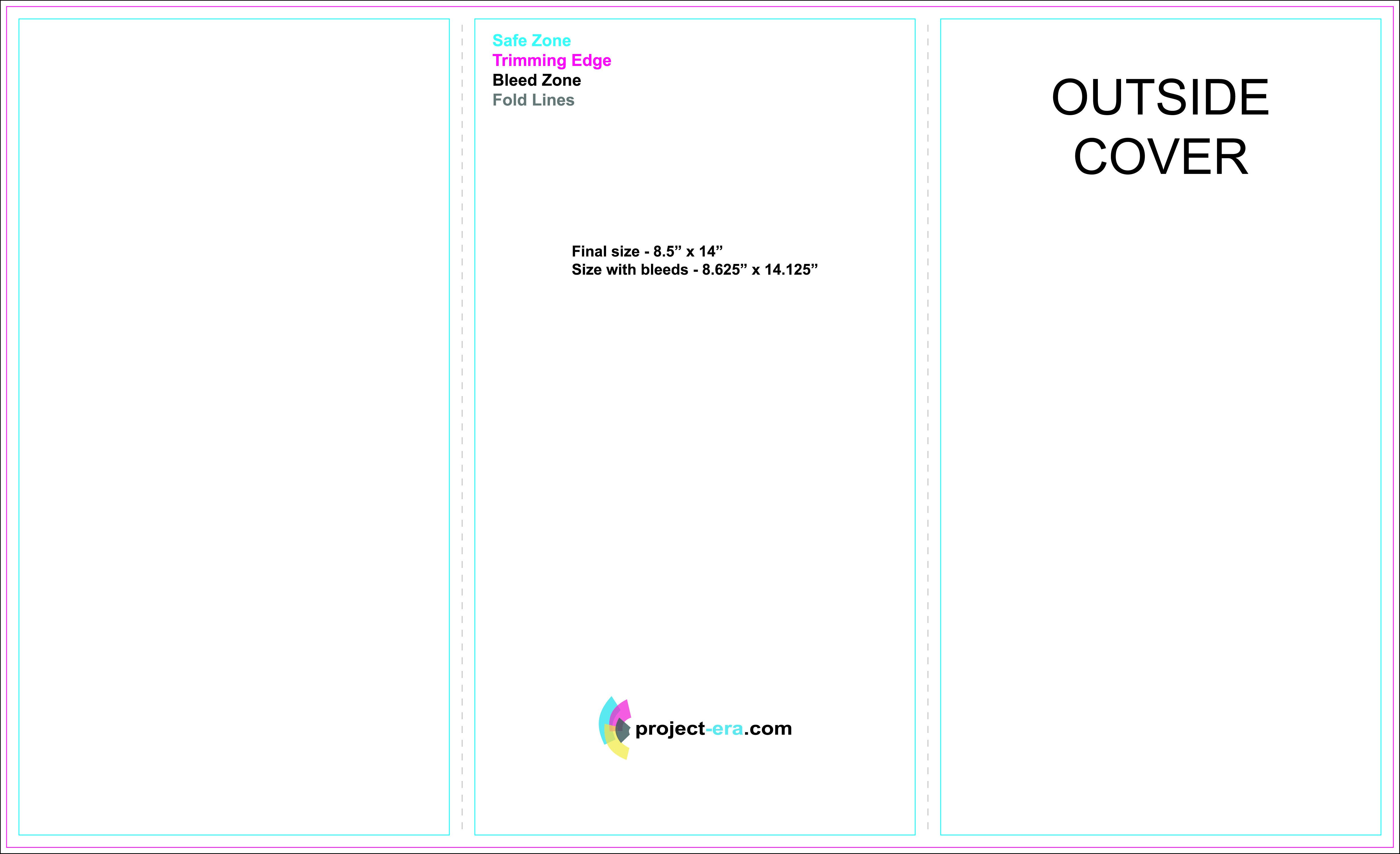 "Three Fold Brochure Template Free Tri Fold Brochure Templates Based On 8 5"" X 14"" Paper"