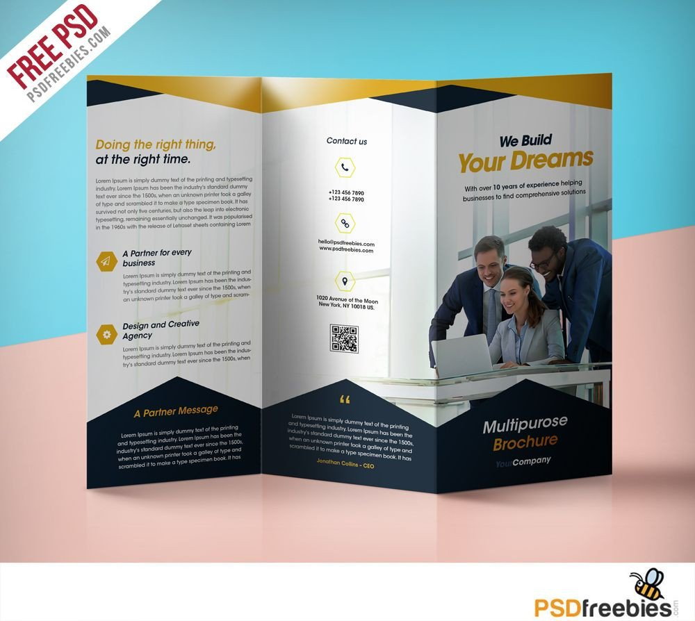 Three Fold Brochure Template Professional Corporate Tri Fold Brochure Free Psd Template