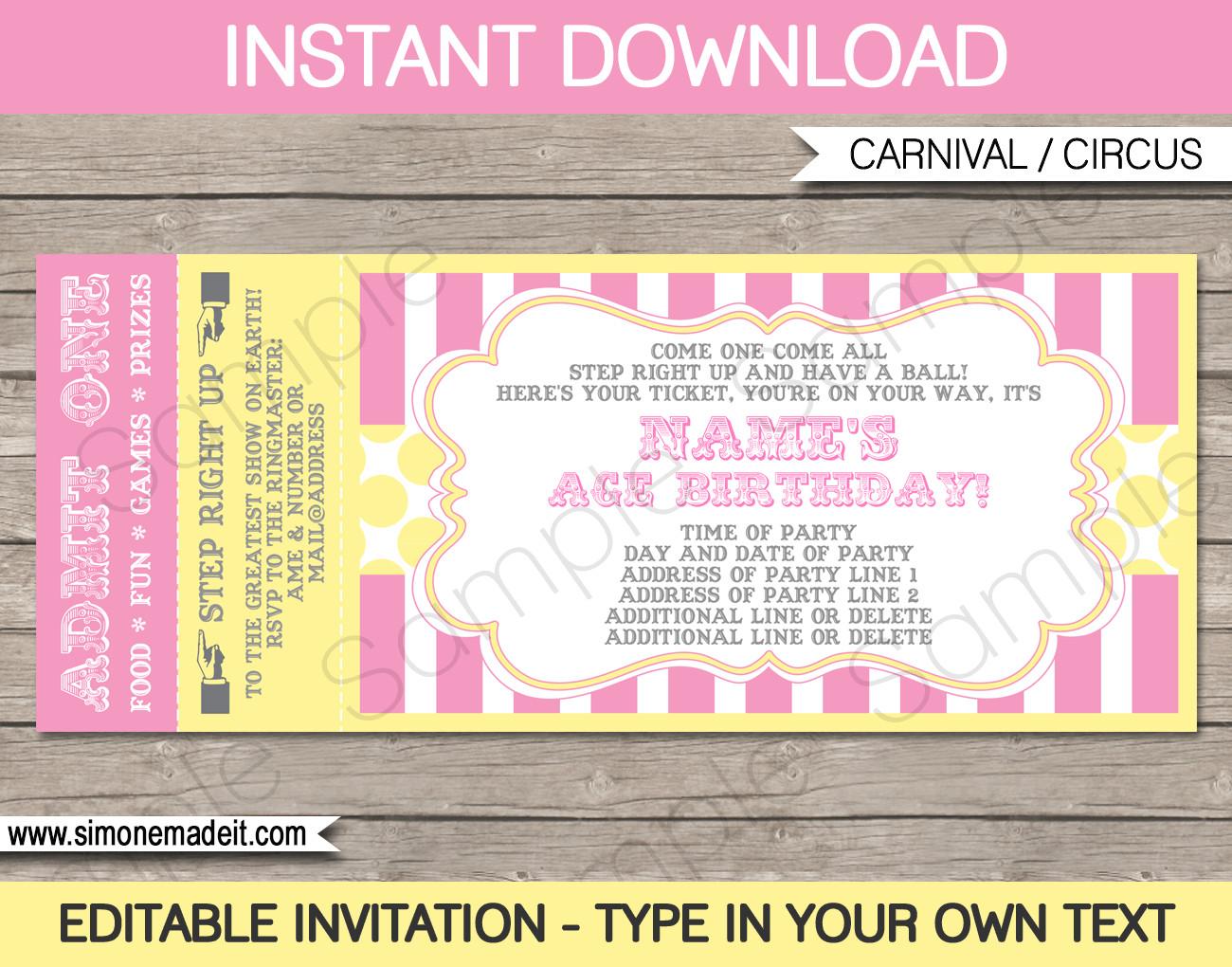 Ticket Invitation Template Free Carnival Birthday Ticket Invitation Template