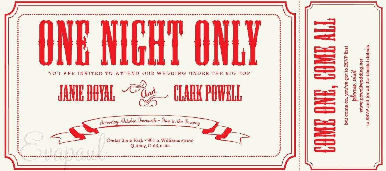 Ticket Invitation Template Free Cinema Ticket Wedding Invitation Template