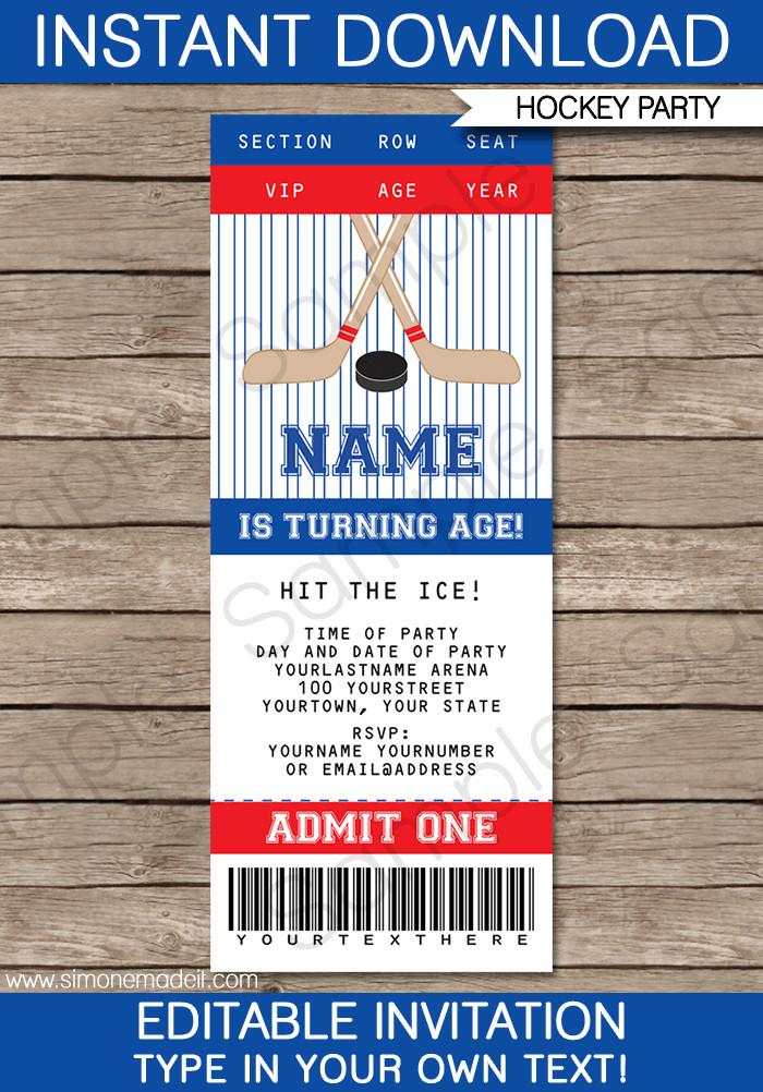 Ticket Invitation Template Free Hockey Ticket Invitations Birthday Party