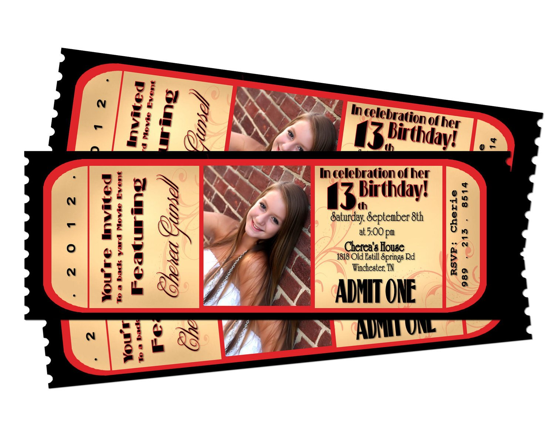 Ticket Invitation Template Free Movie Night Ticket Birthday Printable Invitation by Sarahmkey