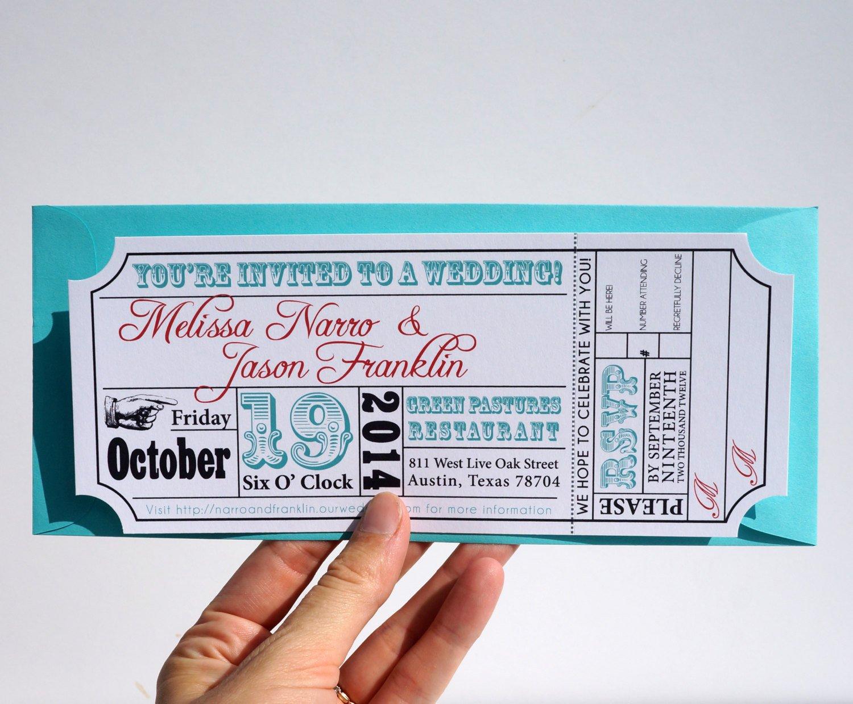 Ticket Invitation Template Free Movie Ticket Wedding Invitation