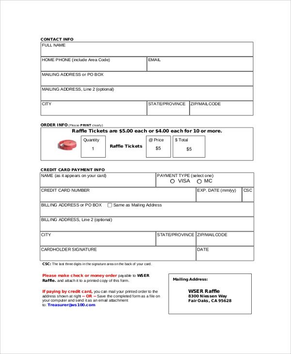 Ticket order form Template Word 22 Sample Raffle Tickets Psd Ai Word