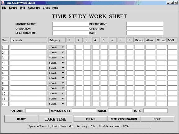 Time and Motion Study Template Time Study Template